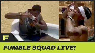 Jordan Clarkson & Meyers Leonard Go Head To Head In Beer Chugging Competition | Fumble Live