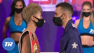 The Intense Faceoff between Naoya Inoue and Jason Moloney after both making weight for title fight