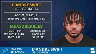 D'Andre Swift Selected By Detroit Lions With Pick #35 In 2nd Round of 2020 NFL Draft