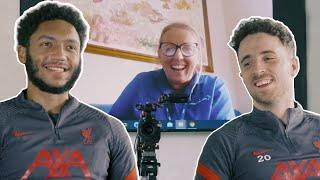 'He's the centre-back, he cut the cord' | Jota & Gomez on LFC and Joie Baby gift initiative
