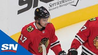 Patrick Kane Slips Pass Through Crease For Great Redirect Goal By Dylan Strome