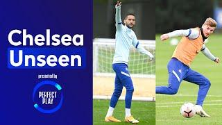 Hakim Ziyech On  In Shooting Drill & Timo Werner Nutmegs Kai Havertz In The Rondo | Chelsea Unseen