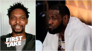 Chris Bosh reacts to LeBron walking off the court early in Game 3 of Lakers vs. Heat | First Take