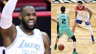 LeBron James Shouts Out LaMelo Ball After He Shoots 3 RIGHT In Lonzo's Face During Game v Pelicans