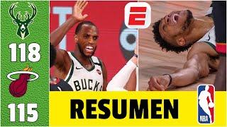 Milwaukee Bucks vs Miami Heat RESUMEN NBA | Lesión de Giannis, pero Middleton evita la barrida.
