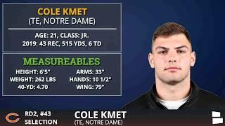 Chicago Bears Draft Cole Kmet Of Notre Dame #43 Overall In 2nd Round of 2020 NFL Draft