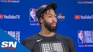 Lakers' Anthony Davis Speaks After Win Against Heat In His First NBA Finals Game