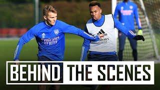 Odegaard's backheel assist   Behind the scenes at Arsenal training centre