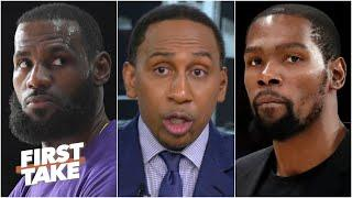 Stephen A.: 'LeBron will be waiting' for the Nets, KD & Kyrie 'have to answer the call' | First Take