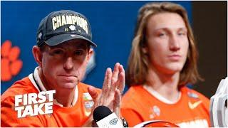 First Take reacts to Trevor Lawrence defending Dabo Swinney