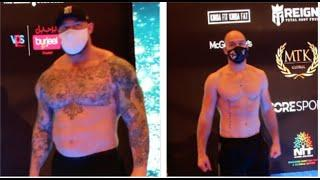 'THE MOUNTAIN' THOR BJORNSSON WEIGHS IN A STAGGERING 130lbs HEAVIER THAN HIS OPPONENT STEVEN WARD