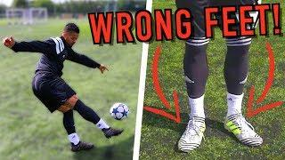 CRAZY FOOTBALL BOOTS ON THE WRONG FEET EXPERIMENT!