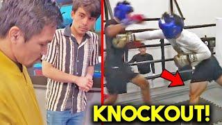 *WOW* MANNY PACQUIAO HELPS SON *K. O* SPARRING PARTNER!! (FULL TRAINING CAMP WITH DAD)
