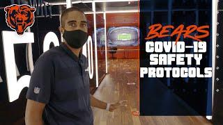Bears Head Athletic Trainer Andre Tucker shows the team's COVID-19 safety protocols