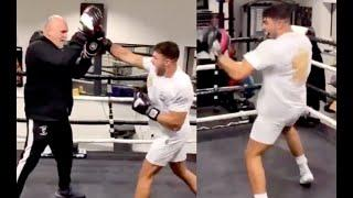 A HYPED UP TYSON FURY FILMS HIS BROTHER TOMMY FURY UNLEASHING BOMBS ON THE PADS WITH BIG JOHN FURY