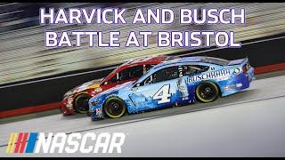 Dogfight: Kevin Harvick and Kyle Busch battle in an intense final 25 laps at Bristol | NASCAR