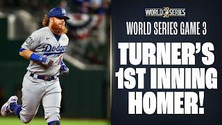 Justin Turner goes deep in 1st to put Dodgers up in World Series Game 3!