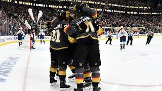 Golden Knights tie it after mad scramble and sensational Karlsson feed
