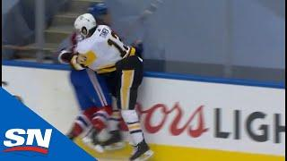Brandon Tanev Crushes Jake Evans Against Boards With Big Hit