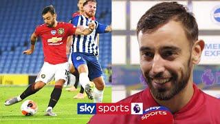 Bruno Fernandes reacts to his special performance against Brighton
