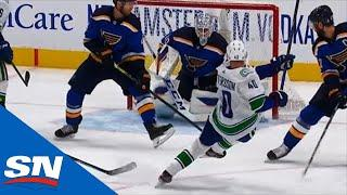 Elias Pettersson Rips Home Power Play Goal While Falling To The Ice