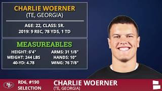 San Francisco 49ers Pick TE Charlie Woerner from Georgia In 6th Round of 2020 NFL Draft