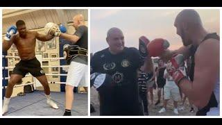 AJ v FURY - ANTHONY JOSHUA DESTROYS PADS, TYSON FURY SHOWS POWER & SUBLIME SPEED - BOTH IN TRAINING
