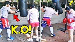 MANNY PACQUIAO and JINKEE TRAINING SIDE BY SIDE! KNOCKOUT PUNCHES ON HEAVY BAG-