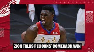 Zion Williamson recaps Pelicans' comeback win vs. Celtics | NBA on ESPN