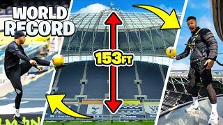 IMPOSSIBLE BALL CONTROL FROM TOTTENHAM HOTSPUR STADIUM    WORLD RECORD SKYWALK TOUCH