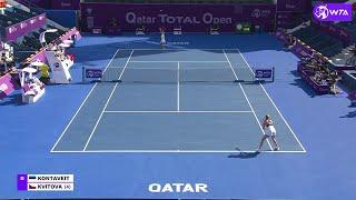 Anett Kontaveit vs. Petra Kvitova | 2021 Doha Quarterfinals | WTA Match Highlights