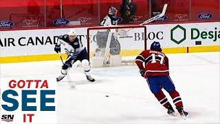 GOTTA SEE IT: Hellebuyck Caught Out Of Net After Puck Takes Crazy Bounce Giving Canadiens Easy Goal
