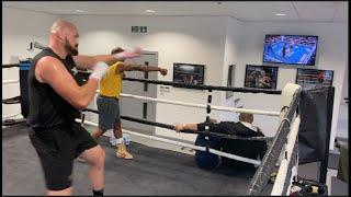 TYSON FURY WATCHING HIMSELF KNOCK DEONTAY WILDER OUT WHILST CHUCKING OUT COMBOS (IN CAMP FOOTAGE)