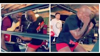 OUCH! - 'IRON' MIKE TYSON DEMONSTRATES HOW TO RIP THOSE BODY SHOTS UP CLOSE TO UFC'S HENRY CEJUDO