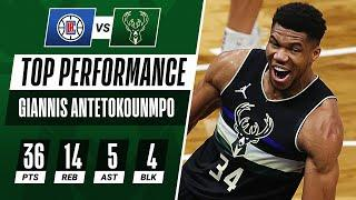 36 PTS, 14 REB, 4 BLK For Giannis Antetokounmpo!