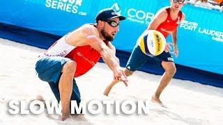 Beach volleyball in slow-motion is mesmerising.