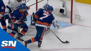 Andrei Vasilevskiy Stretches Out With His Arm To Rob Jordan Eberle Of Wide Open Net