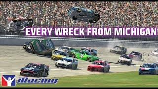 Cars flipping, huge hits | Every wreck from the Coca-Cola iRacing Series at Michigan