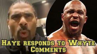 """""""I ALWAYS GET A LOT OF LOVE FROM DILLIAN WHYTE"""" DAVID HAYE RESPONDS TO WHYTE'S COMMENTS"""