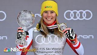 Katharina Liensberger wins slalom World Cup Finals, Mikaela Shiffrin takes second | NBC Sports