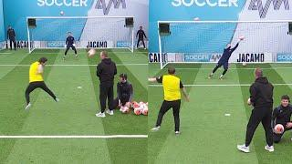 Soccer AM goalkeeper pulls off a WORLDIE save against the Watford Fans in the Volley Challenge!