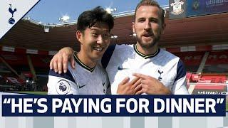 """""""HE'S PAYING FOR DINNER NEXT TIME""""   Kane to Son after our no.7 collects his four-goal match ball!"""