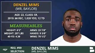New York Jets Select WR Denzel Mims From Baylor With Pick #59 In 2nd Round of 2020 NFL Draft