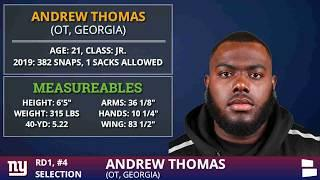 New York Giants Select OT Andrew Thomas From Georgia With Pick #4 In 1st Round Of 2020 NFL Draft