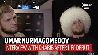 """""""Your English is not ready!"""" Khabib jumps in for cousin Umar's interview after debut win!"""