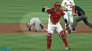 The Cardinals turn a 3-2-8 double play, a breakdown