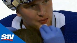 Andrei Vasilevskiy Left Bloody After Taking Knee To The Head On Diving Save